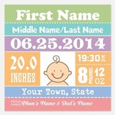 Personalize Baby Birth Stats Invitations