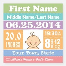 """Personalize Baby Birth Stats Square Car Magnet 3"""""""