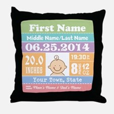 Personalize Baby Birth Stats Throw Pillow