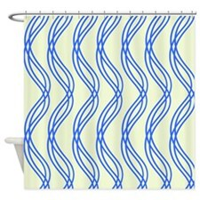 Blue and White Swirls Shower Curtain