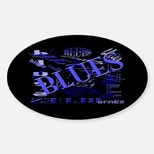 Blues on Blue Dark Oval Bumper Stickers