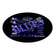Blues on Blue Dark Oval Decal