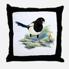 Watercolor Curious Magpie Bird Nature Art Throw Pi