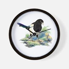 Watercolor Curious Magpie Bird Nature Wall Clock