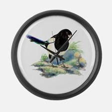 Watercolor Curious Magpie Bird Large Wall Clock