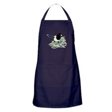 Watercolor Curious Magpie Bird Nature Art Apron (d