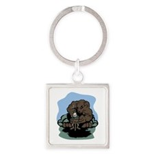 Don't Feed the Bears Square Keychain