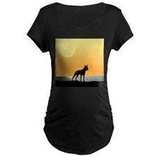 Boston Terrier Surfside Sunset Maternity T-Shirt