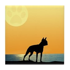 Boston Terrier Surfside Sunset Tile Coaster