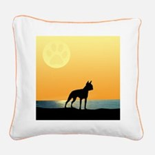 Boston Terrier Surfside Sunset Square Canvas Pillo