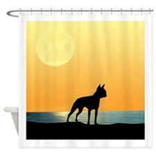 Boston Terrier Surfside Sunset Shower Curtain