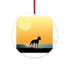 Boston Terrier Surfside Sunset Ornament (Round)