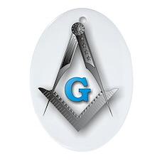 Masonic Square and Compass Ornament (Oval)