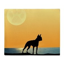 Boston Terrier Surfside Sunset Throw Blanket