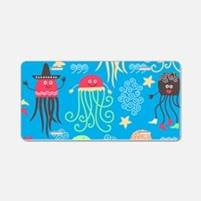 Silly Octopus Aluminum License Plate