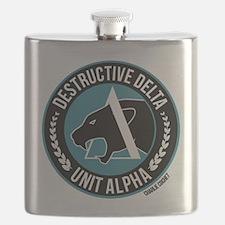Destructive Delta logo Flask