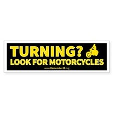 Turning Left? Look for Motorcycle Bumper Sticker