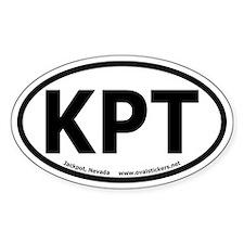 """Jackpot, Nevada """"KPT"""" Oval Car Decal"""