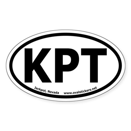 "Jackpot, Nevada ""KPT"" Oval Car Sticker"