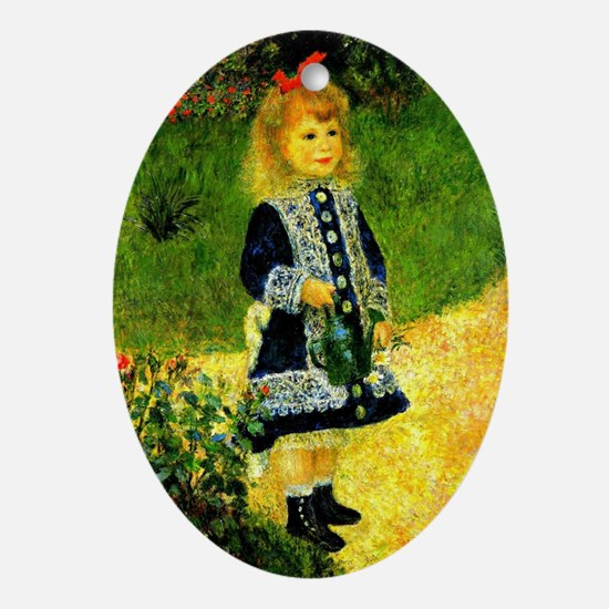 Renoir - A Girl with a Watering Can Oval Ornament