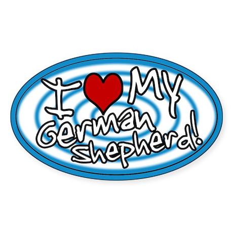 Hypno I Love My German Shepherd Oval Sticker Blu