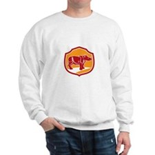 Rhinoceros Standing Shield Retro Sweatshirt