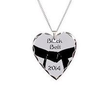 Unique Black belt Necklace Heart Charm