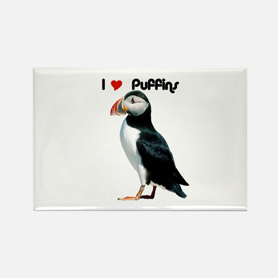 I Luv Puffins Rectangle Magnet