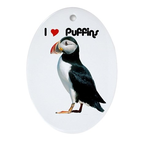 I Luv Puffins Oval Ornament