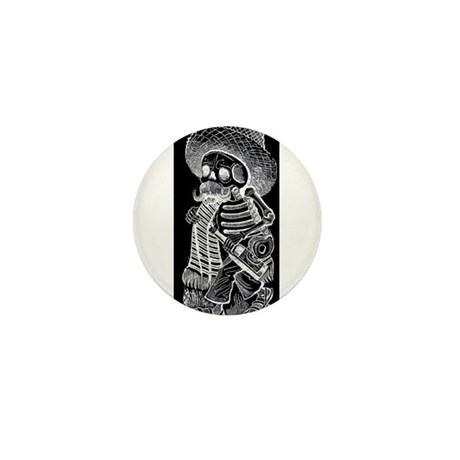 Calavera with Bottle - El Bor Mini Button