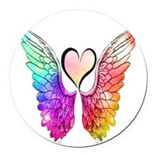 Angel Wings Heart Round Car Magnet