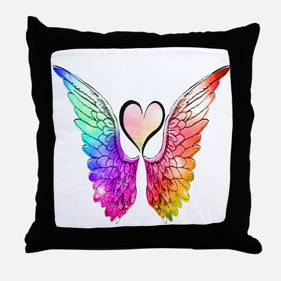 Angel Wings Heart Throw Pillow