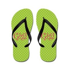 Gigi Pink & Green with Polka Dots Flip Flops