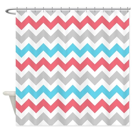 Coral Aqua Grey White Chevron Shower Curtain By Admin CP2452714