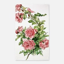 Pretty Pink Vintage Roses 3'x5' Area Rug