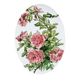 China painting pink roses Oval Ornaments
