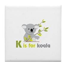 K is For koala Tile Coaster