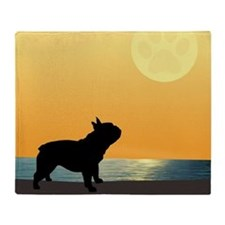 French Bulldog Surfside Sunset Throw Blanket