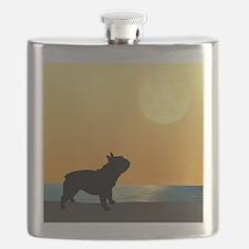 French Bulldog Surfside Sunset Flask