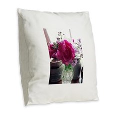 Peony Still Burlap Throw Pillow