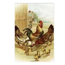 Vintage Art Farm Chickens Postcards (Package of 8)