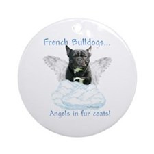 Frenchie Angel Ornament (Round)