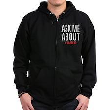 LINUX - Ask Me About - Zip Hoodie