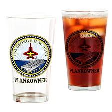 CVN-77 Plankonwer Crest Drinking Glass