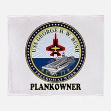 CVN-77 Plankonwer Crest Throw Blanket