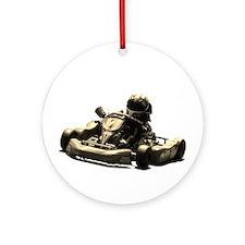 Kart Racer Sepia Tone Ornament (Round)