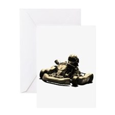Kart Racer Sepia Tone Greeting Cards