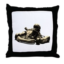 Kart Racer Sepia Tone Throw Pillow