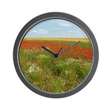 English Poppies Wall Clock