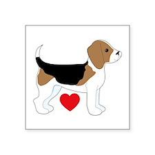 """Beagle Love Square Sticker 3"""" x 3"""""""